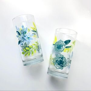 🌿✨Adorable Floral Etched Drinking Glasses ✨🌿